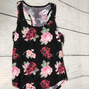 Deadpool Chibi Marvel Floral Tank Top size Small